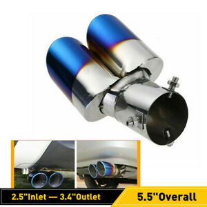 Blue Stainless Steel Rear Ovel Exhaust Pipes Tail Muffler Tip Car Parts Durable