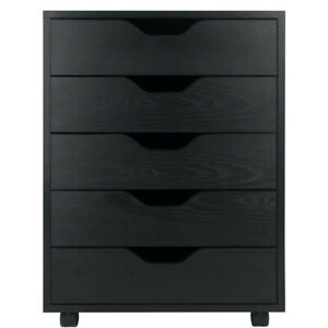Rolling File Cabinet Wood Storage Cart Mobile Office Filing 5 Drawers Organizer