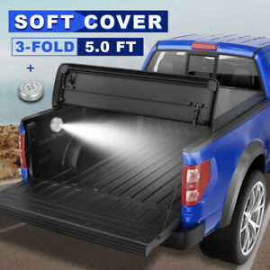 1x Tri Fold 5ft Bed Soft Tonneau Cover Fit 19 20 Ford Ranger Truck W Lamp Safe