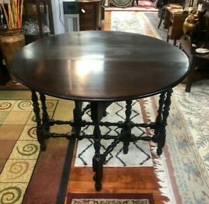 Antique Drop Leaf Round Gate Leg Game Table Turned Spindle Legs Pick Up Only