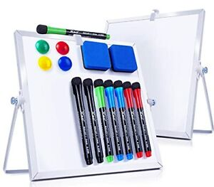 White Board 2 Pack 10 x10 With Stand 8 Markers 4 Magnets 2 Erasers Desktop