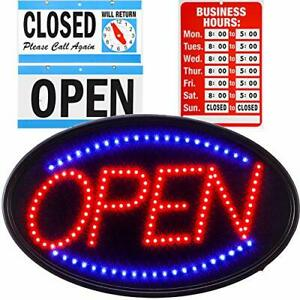Led Open Sign Business Board 23x14 Large Bright Electric Open Display Light B