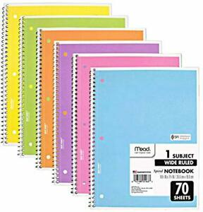 Mead Spiral Notebook 6 Pack Of 1 subject Wide Ruled Spiral Bound Notebooks Pa