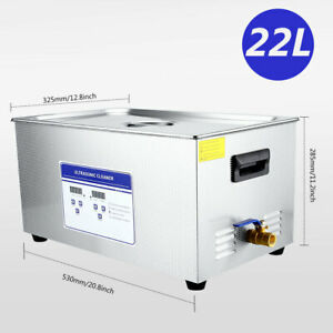 22l Digital Ultrasonic Cleaner Machine W timer Heated Cleaning Stainless Steel