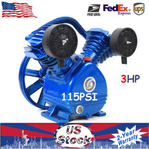 3 Hp 2 Piston V Style Twin Cylinder Air Compressor Pump Motor Head Air Tool New