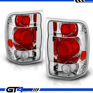 Altezza Style Chrome Red Rear Brake Tail Lights Pair For 1998 2000 Ford Ranger