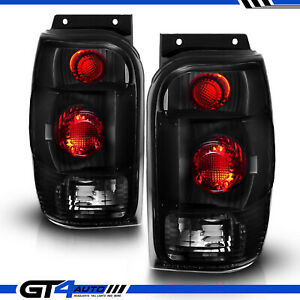 For 98 2001 Ford Explorer Mountaineer Black Smoke Replacement Taillights Pair