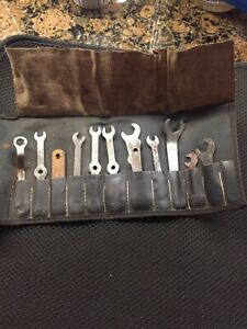 Antique 12 Pc Steel Ignition Wrench Kit Tools Auto Gm Chevy Ford Leather Pouch