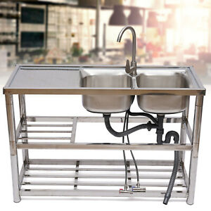 Commercial Stainless Steel Catering Kitchen Sink Double Bowl Drainer Unit New Us
