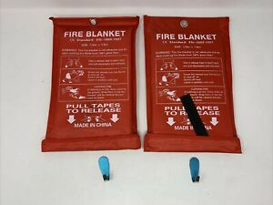 Fire Blanket Fiberglass Emergency Survival Safety Cover For Kitchen Home 2 Pack