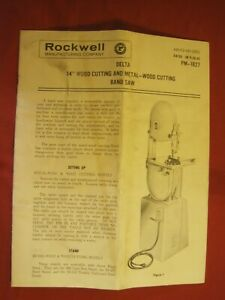1962 0perating Inst Parts List Delta Rockwell 14 Wood metal Cutting Band Saw