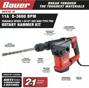 Bauer Rotary Hammer Drill 11 Amp 1 9 16 Sds Max Type Bits Pro Variable Speed