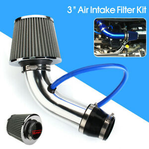Cold Air Intake Filter Induction Kit Pipe Power Flow Hose System Car Auto Silver
