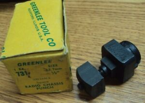 Greenlee Tool Co Usa No 731 Size 1 2 12 7mm Square Radio Chassis Punch