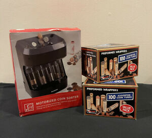 Brookstone Motorized Coin Sorter New In Open Box With Bonus Coin Tubes