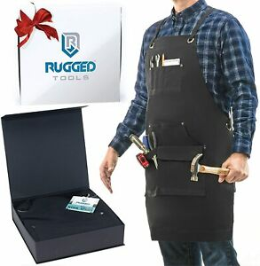 Rugged Tools Work Apron Heavy Duty Canvas Shop Apron With Tool Pockets black