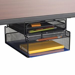 Safco Products 3244bl Onyx Mounted Under desk Hanging Storage Convenient Orga
