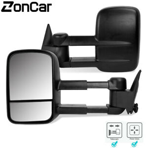 Left Right 1988 1998 Chevy Gmc C K 1500 2500 Telescoping Tow Manual Side Mirrors