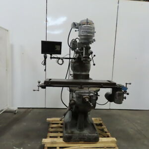 Bridgeport 1hp Vertical Turret Milling Machine W power Feed Readout 480v 3ph
