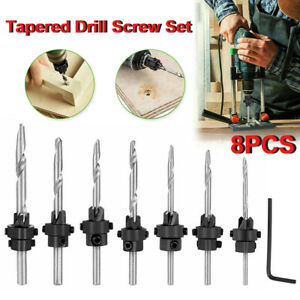 8pcs Tapered Drill Countersink Screw Set Wood Pilot Hole Woodworking Tools
