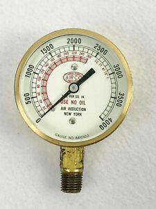 Airco Brass Air Reduction Gauge No 8410102 0 4000 Psi Untested