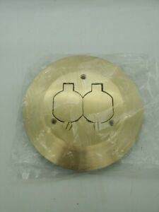 Hubbell Round Carpet Flange Metal Covers Brass Floor Outlet Cover 6 1 4