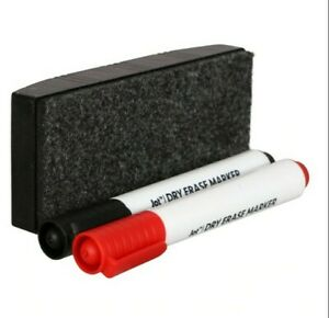 Dry Erase Board Eraser And Whiteboard Markers Chisel Tip Black Red Free Shipping