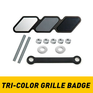 Tri Color Grille Badge Emblem For Most Pickups Trucks White Gray And Dark Gray A Fits 2009 Toyota Tacoma