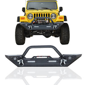 Textured Front Bumper W Winch Plate Led Lights For Wrangler Tj Yj 87 06 Jeep