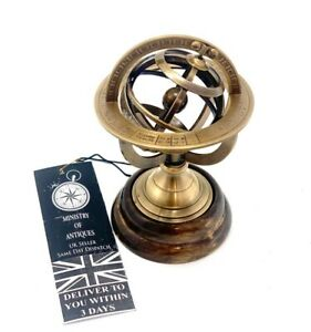 Vintage Maritime Brass Armillary Globe Sphere Wooden Base Collectible Gift