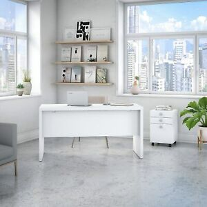 Echo Credenza Desk With Mobile File Cabinet From Office By White Medium