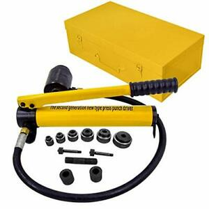 r 10 Ton Hydraulic Knockout Punch Hole Driver Kit Complete Tool Set With 6