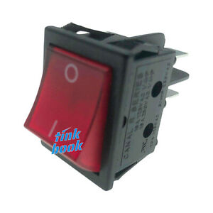 4 Pin Rocker Switch Canal R Series Red Illuminated Double Pole 20a 16a