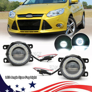 Pair Led Clear Angle Eyes Bumper Fog Light Lamps Assembly For Ford Focus Mustang