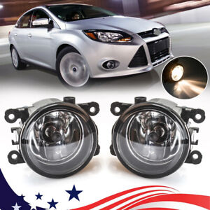 For Ford Focus 2012 2014 Pair Clear Lens Front Bumper Fog Lights Lamps W Bulbs