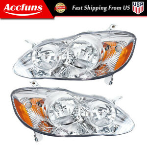 Chrome Headlamps Headlights Abs Left Right For 2003 2008 Toyota Corolla Pair