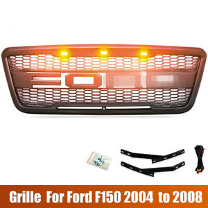 For 2004 2005 2006 2007 2008 Ford F150 Grill Black Bumper Front Grill W Led