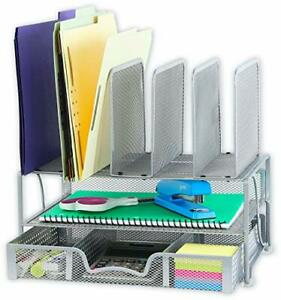 Simplehouseware Mesh Desk Organizer With Sliding Drawer Double Tray And 5 Upr
