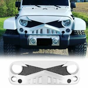 For 07 18 Jeep Wrangler Jk Jku Front Bumper Grill White Hawke Grille W Mesh Abs