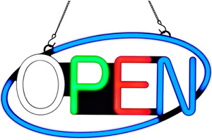 Super Bright Led Neon Open Sign For Business 22x11in Large Size Oval Frame With