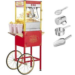 Zokop 8oz Vintage Style Professionalpopcorn Machine With Cart Kettle Scoop Red