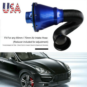 Universal 70mm Cold Air Intake System Air Filter Kit Auto Car Us Stock Blue