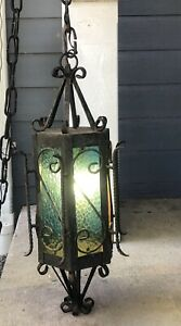 Vintage Wrought Iron Hanging Light Gothic Medieval Style Glass Panels