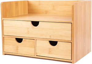 Bamboo Desk Organizer With Drawers And Shelf Mini Small Desktop Organizer With