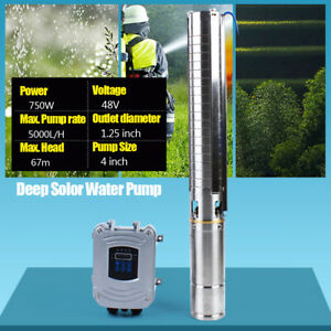 4 Dc Solar Water Pump 48v Submersible mppt Controller Deep Bore Well 750w New