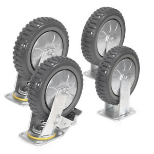 4 Pack 8 Inches Caster Wheels Locking Casters With Brake Swivel Fixed Plate