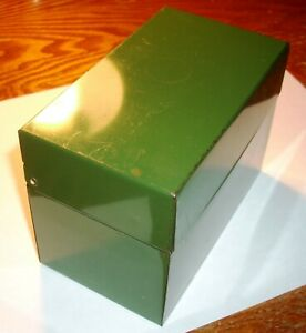 Vintage Ohio Art Metal Index Card File Box 3 x5 Cards Green With 26 Dividers