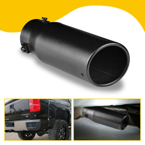 2 5 Stainless Steel Car Exhaust Pipe Tip Tail Muffler Black Auto Parts Round Us