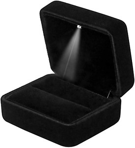 Gbyan Velvet Ring Box With Led Light Jewelry Display Gift Box For Proposal engag