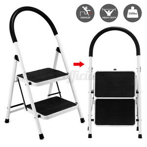 2 Steps Ladder Folding Anti slip Safety Tread Industrial Home Use 300lbs Load Us